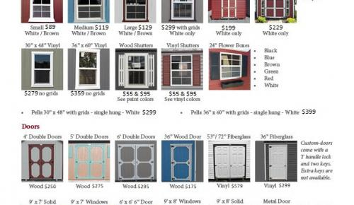 Windows, Doors, Shed Options