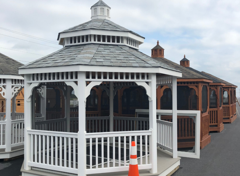 12' white vinyl gazebo pegoda roof shingled