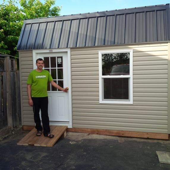 vinyl gambrel barn style roof storage shed oakville ontario