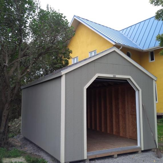 Mini garage series storage sheds better way sheds for Storage shed overhead door