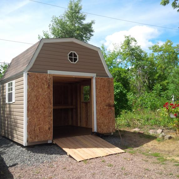vinyl gambrel barn style roof storage shed kingston ontario