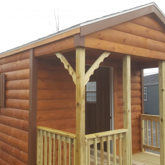 10x16 log sided cabin style storage with 4 39 porch 7 499 for Pre built porches