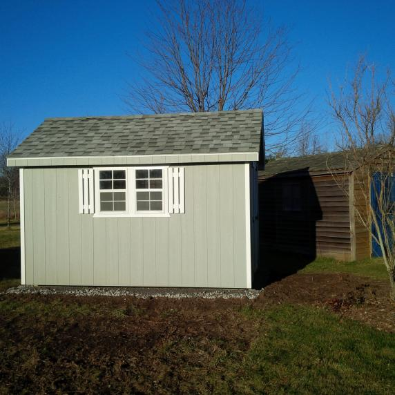 Cape Cod shed side view shutters ontario