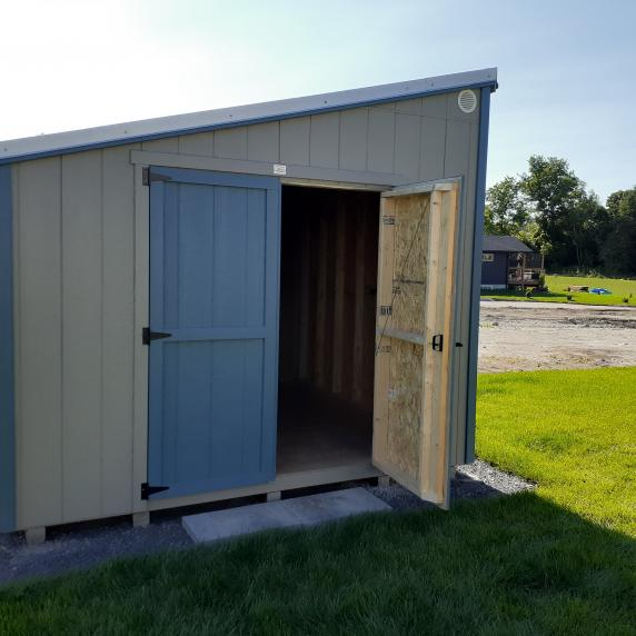 Lean-to style shed door open